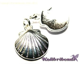 4x Clam Shell Charm 15 mm - Silver plated
