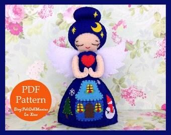 Christmas Eve Angel Doll. Felt Doll. PDF Pattern and Tutorial. Christmas Pattern. Christmas Angel. Christmas Decoration. Guardian Angel.