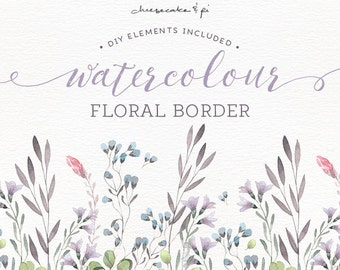 Watercolor floral border: painted floral wreath clipart / Wedding invitation clip art / commercial use / pink, grey, lilac, green / CM0072b