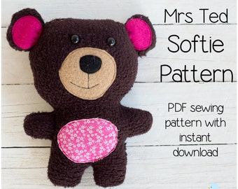 Mrs Ted - Teddy PDF Softie Sewing Pattern & Tutorial Style Instructions (with Instant Download)