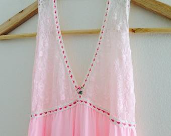 Vintage Pastel Pink Maxi Slip