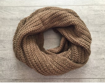 Brown Knitted Chunky Infinity Scarf