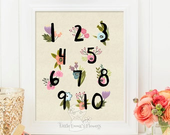 Floral Numbers Nursery Print Kids Wall Art Print Nursery Wall art Decor Playroom decoration nursery decor nursery gift Numbers Poster