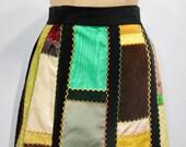 1970s Quilted Patchwork Velvet Full Skirt