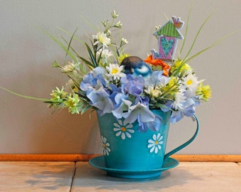 Blue Daisy Cup and Saucer with Blue Bird  (Item 214)