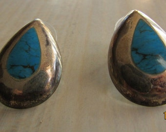 Sterling Silver Teardrop Shape Post Earring with Faux Turquoise