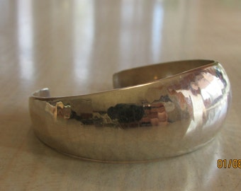 Sterling Silver Hammered Cuff Bracelet by Anitras Inc.