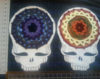 Extra large steal your face grateful dead crochet mandala patch