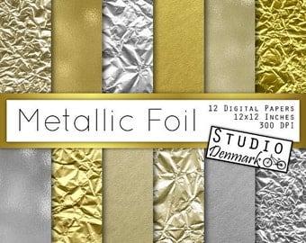 Metallic Foil Textures - Gold / Silver / Titanium Textured Foil - Shiny Background - Crumpled Foil - Commercial Use - Instant Download