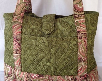 Lg Quilted Tote Bag in Green