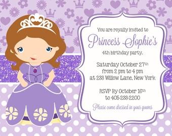 Princess Sofia Invitation, Princess Party Invitation, Sofia the first invitation, Princess Birthday PRINTABLE