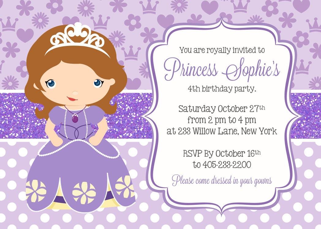 Sofia the first birthday party invitations gangcraft sofia the first invitation etsy birthday invitations stopboris