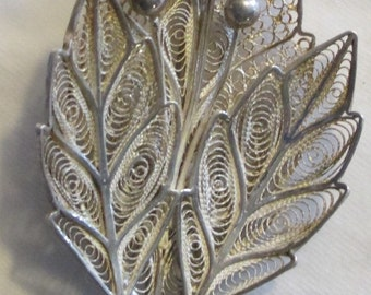 OLD Sterling Filigree Leaf Brooch, Topazio Style