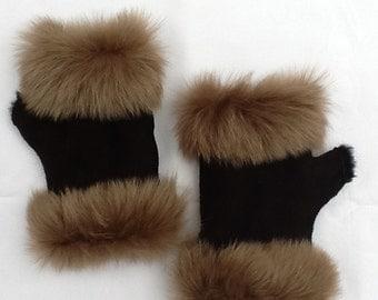 Wrist warmers / fingerless gloves made of genuine sheepskin no. 22