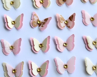 Set of 40 Exclusive Handmade Vanilla/Light Pink Butterflies for Wedding Table Decoration / Bridal Shower/Party Decoration/Wall Decor