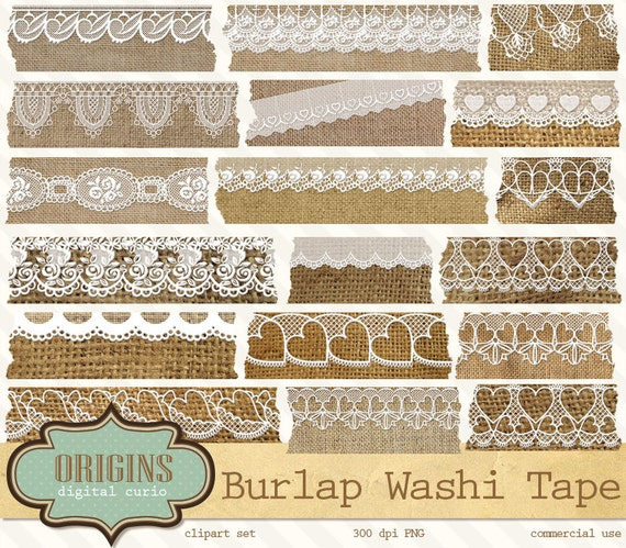 burlap and lace digital washi tape shabby by