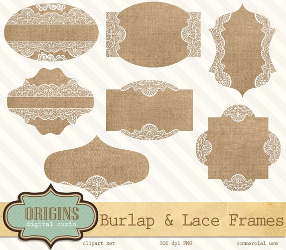 Burlap And Lace Labels Frames Tags Digital By