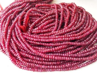 Ruby micro faceted rondelle corundum beads 3.5mm-4mm AAA quality