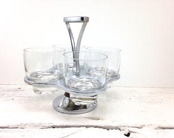 Mid Century Rotating Metal Condiment Caddy | 4 Glass Vintage Condiment Server