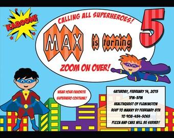 Superhero digital invitation 5x7 printable
