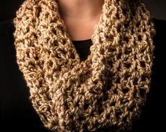 Crocheted Tan & Ivory Cowl