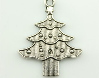 10pcs 33×26mm christmas tree charms antique silver tone pendant