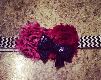 Maroon and black infant headband