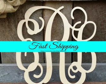 "24"" Wooden Monogram - Vine Script - Unfinished - Ready To Paint - Weddng Guest Book - Nursery Decor - Monogram Home Decor"