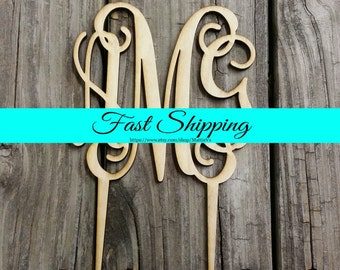 """5"""" Wooden Monogram Cake Topper - Unfinished Wood Monogram - Custom Monogram Cake Topper - Wedding Cake Decor - Wood Letters"""