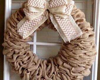 Burlap Wreath - Door Wreath - Everyday Wreath - Fall Wreath - Summer Wreath - Spring Wreath - Summer Wreath for Door - Front Door Wreath