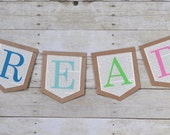 Read banner, classroom banner, reading nook banner, library sign, read sign, reading noon sign, colorful read sign, book page read sign