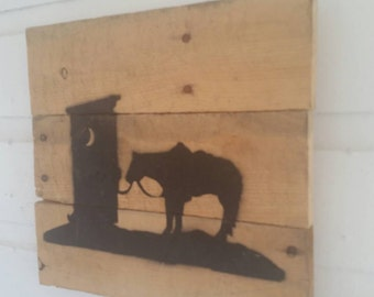 "Unique Pallet Wood Silhouette ""Gotta go"" Sign Rustic Distressed Recycled Repurposed Upcycled Gift for Horseman Gift for Horse Woman"