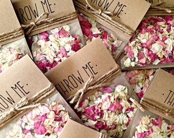 Rustic Personalised Wedding Confetti Bag (with real flower confetti)