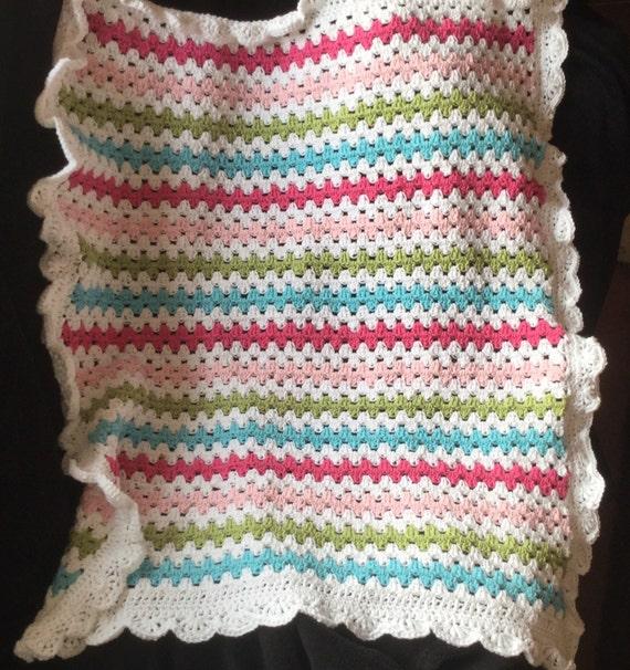 Crochet granny stripe baby afghan