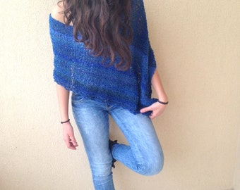 Mohair shawl, blue knit poncho,  mohair shrug, knit poncho, blue shawl, fall trends, winter top, soft loose knit poncho, chunky knitting