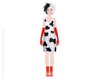 Crudelia De Mon, paper clothes for Lola paper doll, dress up doll, paperdolls, printable paper doll, printables kids, instant download