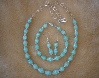 Periwinkle boro bead jewelry set