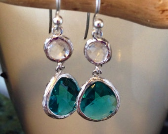 Sterling Silver Crystal Drop Earrings, Clear and Sea Blue/Green Faceted Glass Earrings