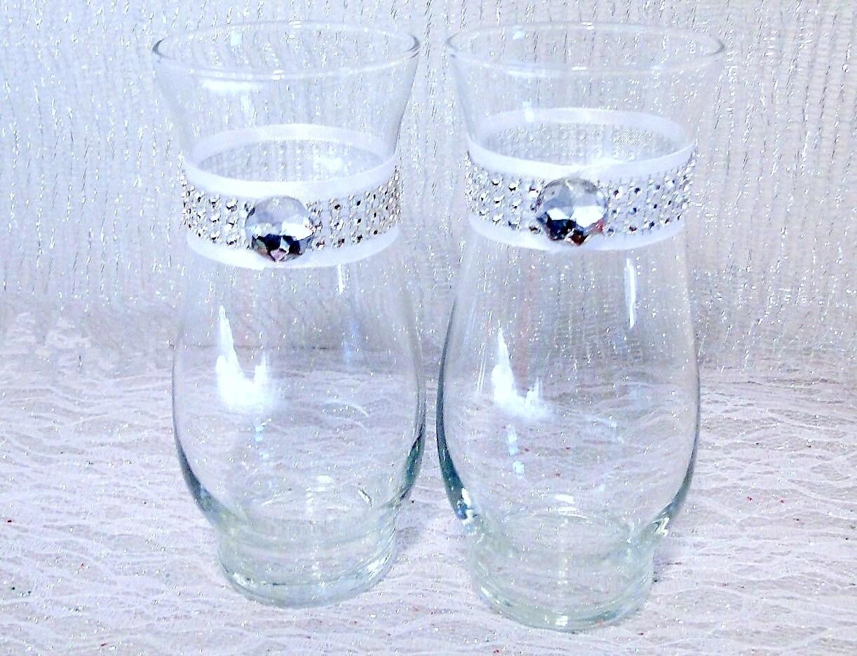 rhinestone vase set of 2 white or ivory glass vase party. Black Bedroom Furniture Sets. Home Design Ideas