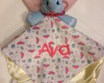 DUMBO Elephant Snuggle Blankey Security Baby Blanket lovey - Monogrammed