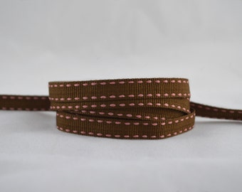 "3 yards of 3/8"" (10mm) Saddle Stitch Grosgrain Ribbon (Coffee Brown with Pink Stitches)"