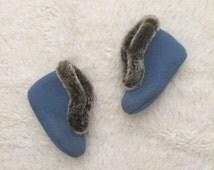 Vintage Baby / Toddler Winter Booties - Blue with brown fur trim