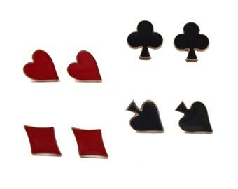 Card Suit Earrings - Hearts, Spades, Diamonds, Clubs