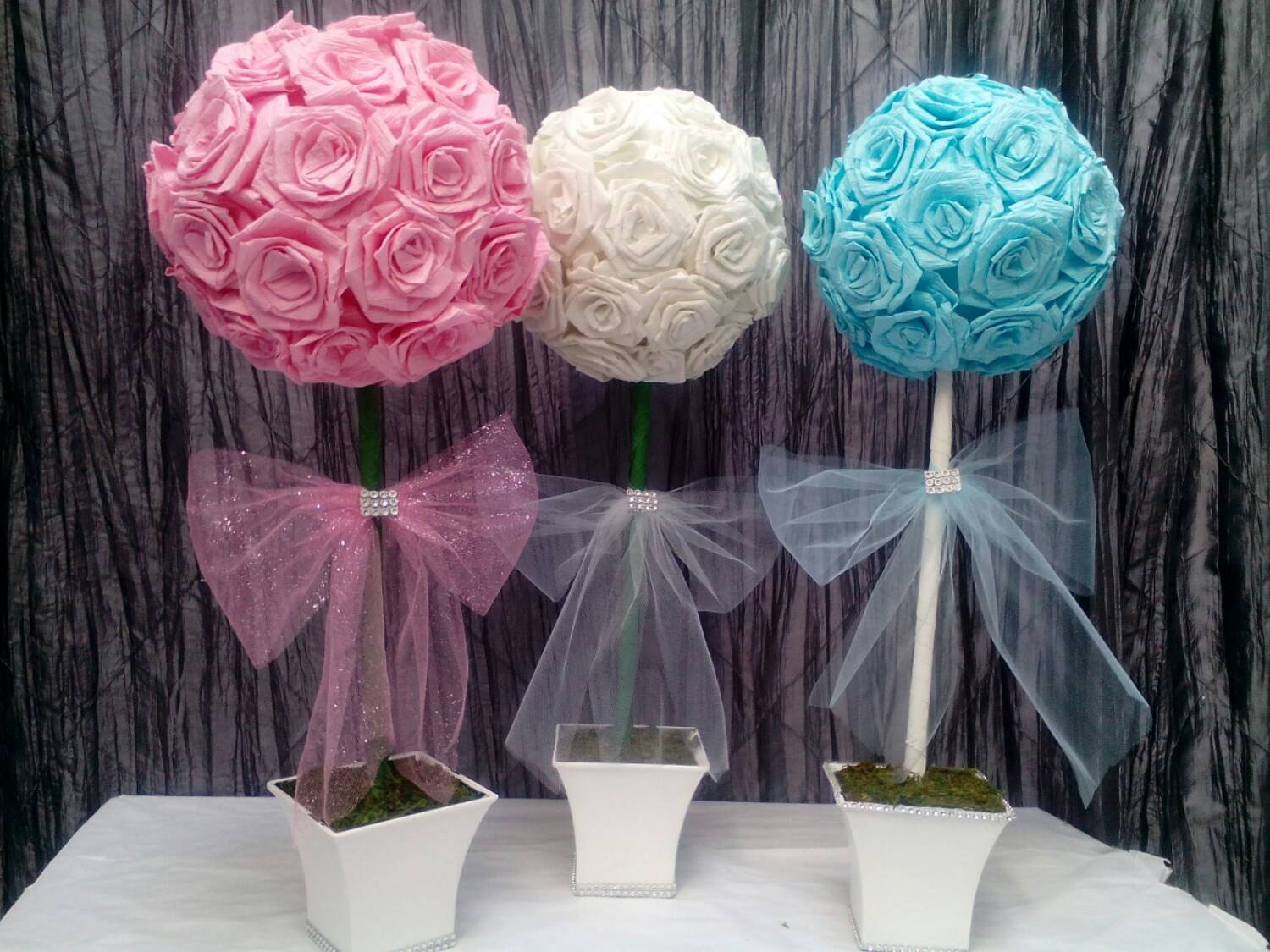 Modern paper flower topiary images wedding and flowers ispiration wedding flowers fresh flowers wedding topiary bouquet centerpiece mightylinksfo