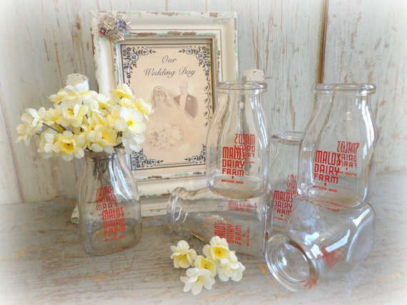 Vintage milk bottles wedding flower vases lot of by