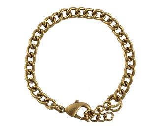 Charm Bracelet - Chain Link Bracelet w/Extender, Antique Gold Plating