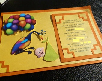 3D Up Themed Baby Shower Invites