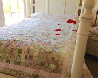 Heirloom Watercolor Quilt Queen Size Quilt with Red Flower- Handmade Quilt Gift- Wedding Gift -Poppies Quilt
