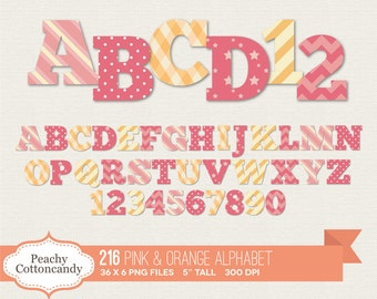 BUY 2 GET 1 FREE 216 Baby Girl Alphabet Clip Art / Pink and Orange Alphabet Clipart / digital alphabet - commercial use ok