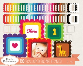 BUY 2 GET 1 FREE 130 Scalloped square Frames Clip Art - Scalloped square Labels digital clipart - Personal and Commercial Use